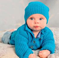 Как связать  шапка и кофта на пуговицах для малыша