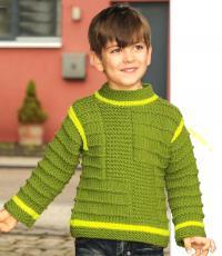 Как связать  свитер для мальчика со структурным узором