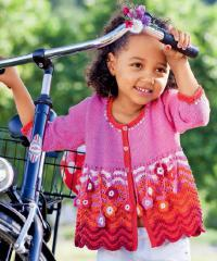 Как связать кофты свободный детский кардиган с цветами