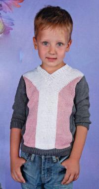 Как связать  трехцветный джемпер для мальчика
