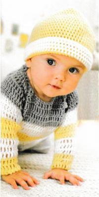 Как связать  трехцветный полосатый пуловер и шапка для малыша