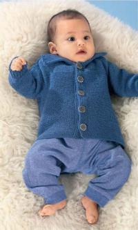 Как связать  жакет на пуговицах для младенца