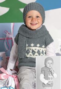 Как связать  жаккардовый жилет, шапка и шарф для мальчика