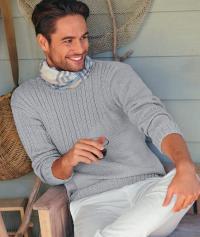 Как связать для мужчин классический мужской пуловер с косами