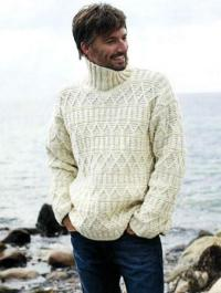 Как связать для мужчин мужской белый свитер с рельефным узором
