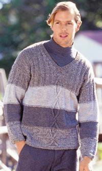 Как связать кофты мужской джемпер с широкими цветными полосами