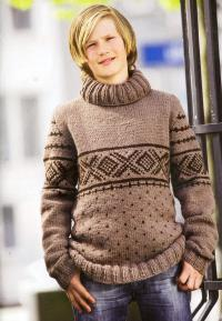 Как связать для мужчин мужской коричневый свитер с рисунком