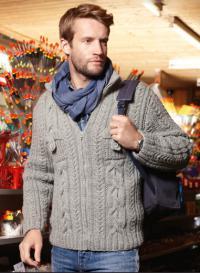 Как связать для мужчин мужской пуловер с косами и накладными карманами
