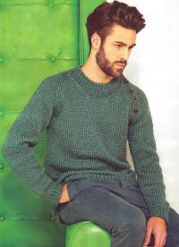Как связать для мужчин мужской пуловер с рукавом реглан с пуговицами
