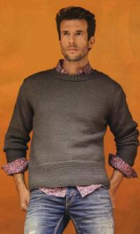 Как связать для мужчин мужской пуловер с широкой планкой на талии
