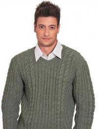 Как связать кофты мужской пуловер с вертикальными полосами