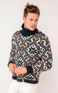 Как связать для мужчин мужской свитер с контрастным рисунком