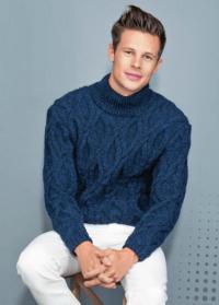 Как связать для мужчин мужской свитер крупной вязки с фантазийным узором