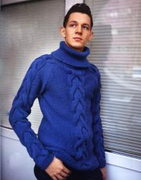 Как связать для мужчин мужской свитер с крупными косами