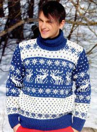 Как связать для мужчин мужской свитер с оленями