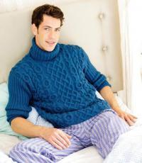Как связать для мужчин мужской свитер с рельефным узором