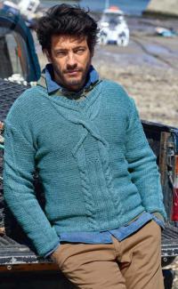 Как связать для мужчин приталенный пуловер для мужчины с крупными косами
