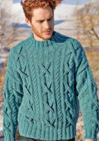 Как связать для мужчин пуловер для мужчины с косами и крестами