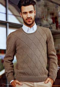 Как связать для мужчин пуловер с круглым вырезом