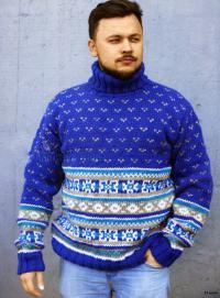 Как связать для мужчин свитер с жаккардовым узором для мужчины