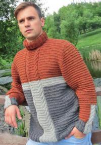 Как связать кофты трехцветный свитер для мужчины с косами