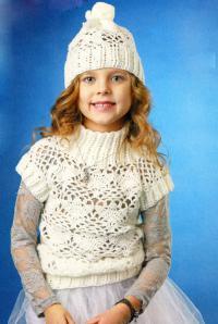 Как связать  детская ажурная жилетка и шапочка