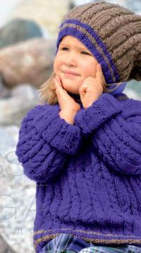Как связать  детская объемная шапочка и пуловер с контрастной окантовкой