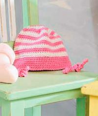 Как связать  детская шапка в розовую полоску