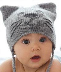 Как связать  детская шапочка в виде кота и митенки