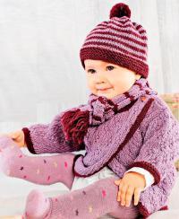 Как связать  детский джемпер с рельефным узором, полосатая шапочка и шарф