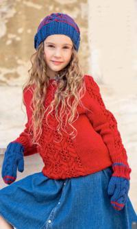 Как связать  двухцветные варежки и шапочка с косами для девочки