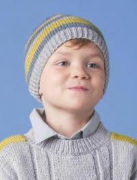 Как связать  полосатая шапочка для ребенка