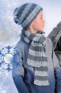 Как связать для мужчин полосатый комплект из шарфа и шапки