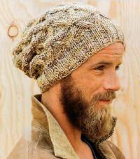 Как связать для мужчин свободная шапка-колпак с косами