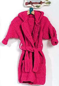 Как связать  детский халат для купания с карманами