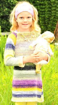 Как связать  детское платье с кокеткой в полоску