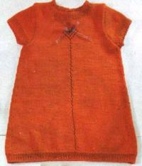 Как связать  детское платье прямого покроя с коротким рукавом