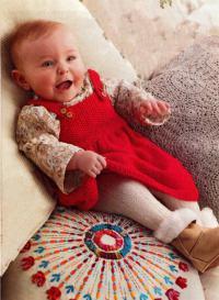 Как связать  красный сарафан для маленькой принцессы