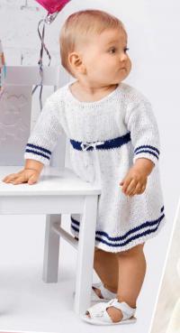 Как связать  платье с синей полоской для девочки до 12 месяцев