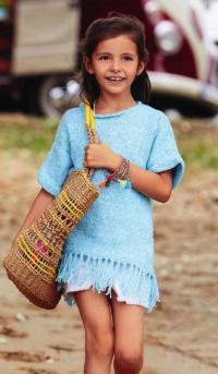 Как связать  платье-туника с бахромой