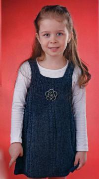 Как связать  темно-синий детский сарафан
