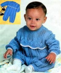 Как связать  голубой детский комбинезон