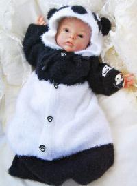 """Как связать  вязаный конверт для новорожденного в виде """"панды"""""""