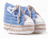 Как связать  пинетки на шнуровке для мальчика и девочки