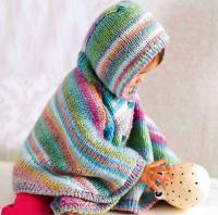 Как связать  пончо с капюшоном для ребенка на пуговицах