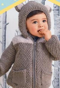 Как связать  теплый свитер-пальто для малыша с капюшоном и ушками