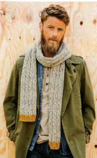 Как связать  шарф с косами и контрастной окантовкой