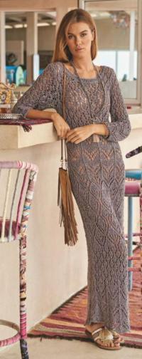 Как связать спицами ажурное платье пастельных тонов в пол