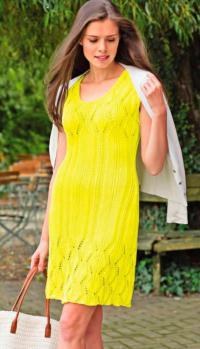 Как связать спицами ажурное приталенное платье