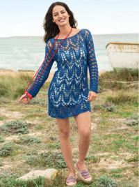 Как связать спицами ажурное укороченное платье с длинным рукавом